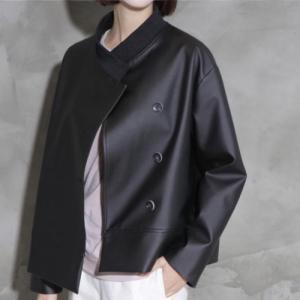 ハイネック レディース 40代 50代 60代 ファッション おしゃれ 女性 上品 黒 リアルレザー ジャケット 無地 長袖 冬 ミセス|alice-style