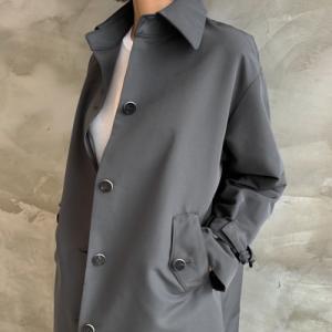 ジャケット レディース 40代 50代 60代 ファッション おしゃれ 女性 上品  グレー  カーキ 緑 Aライントレンチ 長袖 袖ベルト付きミセス|alice-style