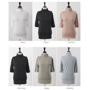 テンセル レディース 40代 50代 60代 ファッション おしゃれ 女性 上品 黒 ベージュ グレー 5分袖 ハイネック Tシャツ 無地 冬 ミセス|alice-style