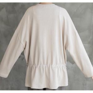 Tシャツ レディース 40代 50代 60代 ファッション おしゃれ 女性 上品 黒 ベージュ グレー ウェスト調節可能紐付き 長袖 無地 ミセス|alice-style