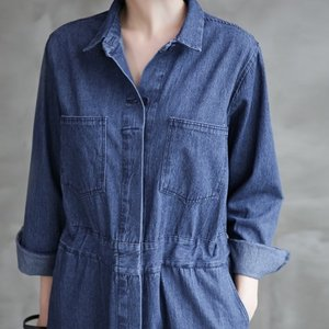 ロングデニムワンピース レディース 40代 50代 60代 ファッション おしゃれ 女性 上品 後スリット ワンピース長袖 無地 冬 ミセス|alice-style