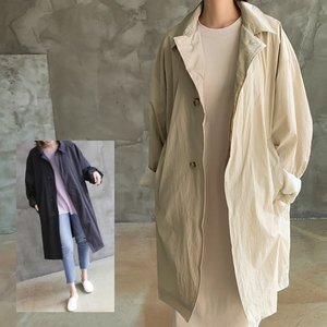 ロングトレンチジャケット レディース 40代 50代 60代 ファッション おしゃれ 女性 上品  黒  ベージュ ルーズフィット 無地 春秋ミセス|alice-style