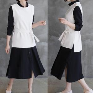 ラウンドネックベスト レディース 40代 50代 60代 ファッション おしゃれ 女性 上品  黒 サイドスリット ベルト付き 無地 冬 ミセス|alice-style