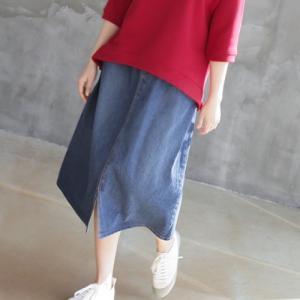 デニムスカート レディース 40代 50代 60代 ファッション おしゃれ 女性 上品 前スリット Aライン バンディング  冬 ミセス|alice-style