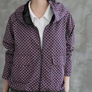 ジップアップジャンパー レディース 40代 50代 60代 ファッション おしゃれ 女性 上品 フード付き パターン柄 長袖 春秋ミセス|alice-style