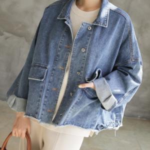 ショートジャケット レディース 40代 50代 60代 ファッション おしゃれ 女性 上品 デニム ルーズフィット 裾切りっぱなし 春秋ミセス|alice-style