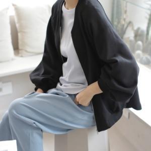 ショートジャンパー レディース 40代 50代 60代 ファッション おしゃれ 女性 上品 黒 グレー ジップアップ 袖しぼり無地 長袖 春秋 ミセス|alice-style