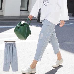 ダメージパンツ レディース 40代 50代 60代 ファッション おしゃれ 女性 上品 切開ライン ウォッシング バンディング デニム 春秋 ミセス|alice-style