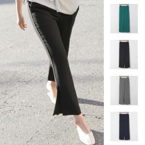 スラックス レディース パンツ 40代 50代 60代 おしゃれ 女性 上品 黒 グレー 紺 青 冷感生地 ブーツカット バンディング スリット|alice-style
