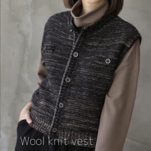 ベスト レディース 40代 50代 60代 ファッション おしゃれ 女性 上品 黒 ショート ウール混 ニット 秋冬春物 ミセス|alice-style