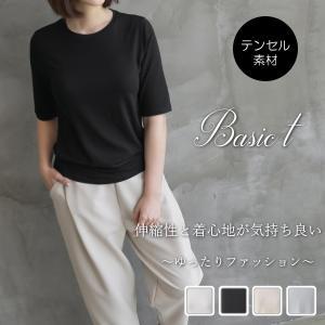 Tシャツ レディース 40代 50代 60代 ファッション おしゃれ 女性 上品 黒 ベージュ ベーシック テンセル混紡 半袖 春秋物 ミセスの画像