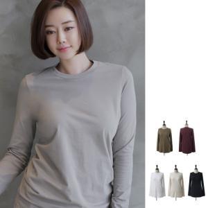 ベーシック レディース 40代 50代 60代 ファッション おしゃれ 女性 上品 黒 白 Tシャツ無地 長袖 冬 ミセス|alice-style