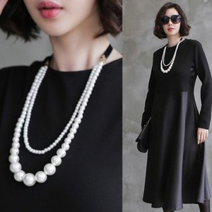 ネックレス レディース 大人 パールビジュー 2連 50代 40代 60代 ファッション 女性|alice-style
