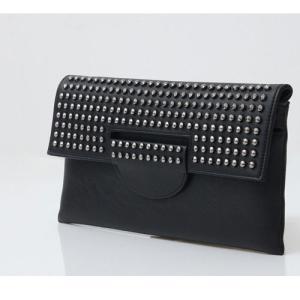 クラッチバッグ レディースバッグ スタッズ シンプル チェーン紐セット  夏 50代 40代 60代 ファッション 女性 黒|alice-style