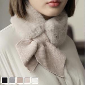 マフラー レディース 40代 50代 60代 ファッション おしゃれ 女性 上品  ニット リング エコファ- 無地 秋冬物 ミセス|alice-style