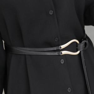 ベルト レディース 40代 50代 60代 ファッション おしゃれ 女性 上品 黒 ゴールド装飾 ダブルストラップ 合皮 春秋物 ミセス|alice-style