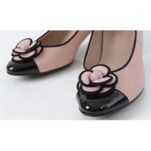 パンプス レディース 大人 40代 50代 60代 ファッション 女性 上品 ベージュ太ヒール コサージュ チャンキーヒール 春 ミセス alice-style 10