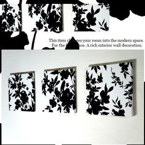 【送料無料】 ファブリックパネル BLACK Leaf ブラックリーフ 30×30cm 3枚組 ファブリックボード 【安定型25mm厚】|alice55