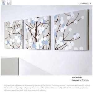 マリメッコ marimekko LUMIMARJA ファブリックパネル 30×30cm3枚セット ブ...
