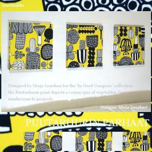 【送料無料】 ファブリックパネル アリス marimekko Puutarhurinparhaat 30×30cm 3枚セット イエロー マリメッコ プータルフリン・パルハート|alice55