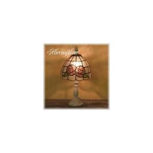 (アンティーク照明) ステンドグラス テーブルランプ ピンクローズ (アリスの時間)|alicenojikan8
