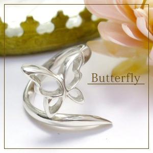指輪 レディース ミディリング SV925 可愛らしい 蝶 ...
