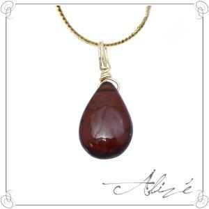 ガーネット ネックレストップ レディース ゴールド 天然石 ペアシェイプ K10 誕生石 1月 国産 人気|alize
