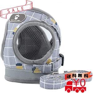 SUNGROO小型犬 胴輪 ペット用 ソフト 中型犬 猫ハーネス リードセット 通気 可愛い 散歩 用 反射光(グレー,M) all-box-1-100