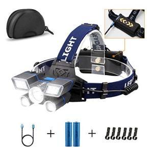 LED ヘッドランプ 充電式 KJLAND最大12000ルーメン ヘルメット型ヘッドライト 防水機能 作業懐中電灯 九つ点灯モー|all-box-1-100