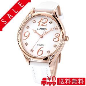 Comtex 腕時計 ホワイト皮革 バンド ウォッチ ローズゴールド 可愛い 丸い 時計 レディース|all-box-1-100