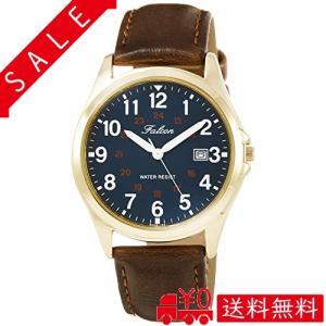 [シチズン Q&Q] 腕時計 アナログ 防水 日付 革ベルト D026-125 メンズ ネイビー|all-box-1-100