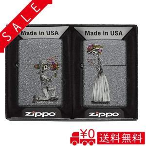 ZIPPO(ジッポ) オイルライター USモデル ペアジッポ スカル 花束プロポーズ 28987|all-box-1-100