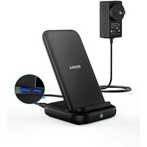 Anker PowerWave 10 Stand with 2 USB-A Ports, ワイヤレス充電器 Qi 認証 iPhone 11 / 11 Pro / 11 Pro Max/XR/X / 8 / 8 Plus Samsung Galaxy 対|all-box-1-100