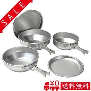 日本製 アルミ キャンプ5点セット[アルミ食器 コッヘル 食器セット]|all-box-1-100