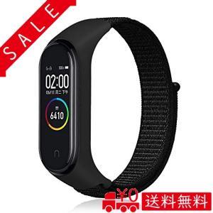 XIHAMA For Xiaomi Miband4 編みナイロン 腕時計バンド 替えベルト Miband3 にも対応 一体型 ベルクロ設計 交換やすい (黒|all-box-1-100