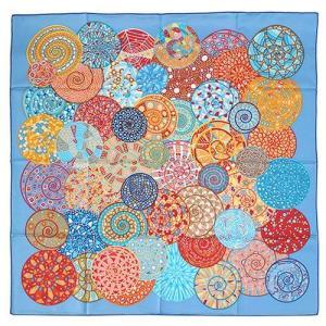 HERMES エルメス カレ シルクツイル スカーフ 90x90 シルク100% Reves D'escargots ブルー/レッド/オレンジ 26440 all-brand