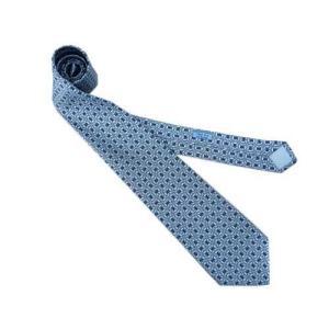 HERMES エルメス メンズ ネクタイ プリント デザイン 5560 MA シルク100% ライトブルー/スカイブルー  all-brand