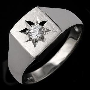ペアリング 印台リング 指輪 ダイヤモンド 0.20ct 一...