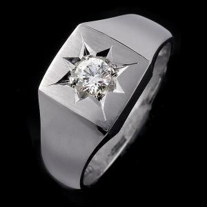 ペアリング 印台リング 指輪 ダイヤモンド 0.30ct 一...