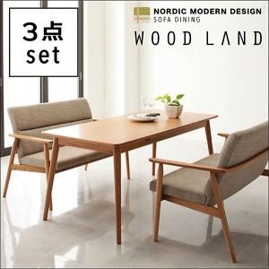 ダイニング 3点セット(テーブル+2人掛けソファ2) W160 天然木 北欧 ソファ|alla-moda