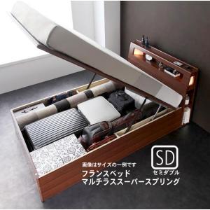 お客様組立 ガス圧式跳ね上げ収納ベッド フランスベッド マルチラススーパースプリングマットレス セミダブル 深さラージ|alla-moda
