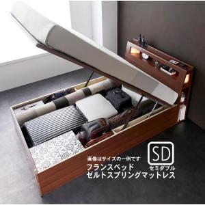 お客様組立 ガス圧式跳ね上げ収納ベッド フランスベッド ゼルトスプリングマットレス セミダブル 深さラージ|alla-moda