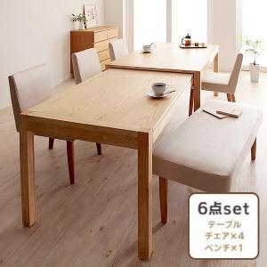 ダイニング 6点セット(テーブル+チェア4+ベンチ1) W135-235 スライド 伸長式 エクステンションテーブル|alla-moda