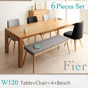 ダイニング 6点セット(テーブル+チェア4+ベンチ1) W120-180 北欧 エクステンション 伸縮式|alla-moda