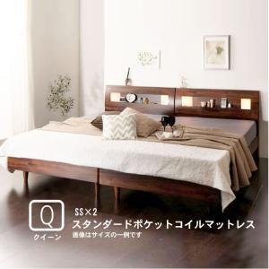 ベッド すのこ クイーン ポケットコイルマットレスレギュラー付き クイーン(SS×2)|alla-moda