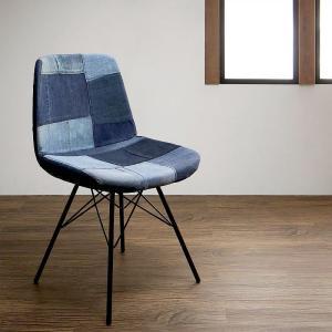 椅子 チェア おしゃれ チェアー パッチワーク柄 デニム デザインチェア|alla-moda