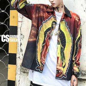 シャツ メンズ マリア フォトプリント シャツ インポート V系 ホスト 細身 個性的 30代 40代 大人 スタイル|alleglo0921