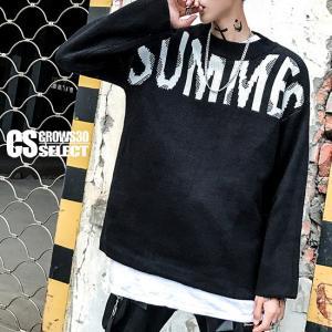 ニットソー メンズ ビックロゴ ロングTシャツ 送料無料 インポート セーター 個性的 V系 モード系 ファッション|alleglo0921