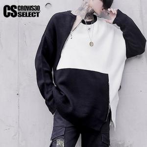 ニットソー メンズ バイカラー ロングTシャツ 送料無料 インポート セーター 個性的 V系 モード系 ファッション|alleglo0921