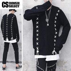 ニットソー メンズ Vネック レースアップ ロングTシャツ インポート セーター 個性的 V系 モード系 ファッション|alleglo0921